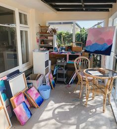 In home at studio where artist Stef Le Gros paints her abstract art works Abstract Art, The Originals, Studio, Artist, Artwork, Painting, Furniture, Home Decor, Work Of Art