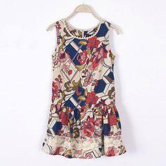 Pearl inlay printing lace dress