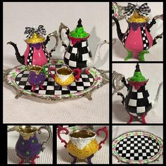 Painted Tea Set, Painted Silver Tea Set, Whimsical Painted Tea Set, Painted Tea Pot Teapot, Alice in Wonderland hand painted home decor Funky Furniture, Painted Furniture, Mackenzie Childs Inspired, Mckenzie And Childs, Silver Tea Set, Drag, Alice In Wonderland Party, Mad Hatter Tea, Tea Service