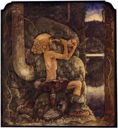 """""""Sagan om de fyra Stortrollen och Lille Vill-Vallareman"""" tale, from """"Bland Tomtar och Troll"""" 1909, by John Bauer"""
