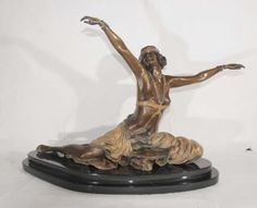French-Bronze-Art-Deco-Thebian-Dancer-Signed-Colinet