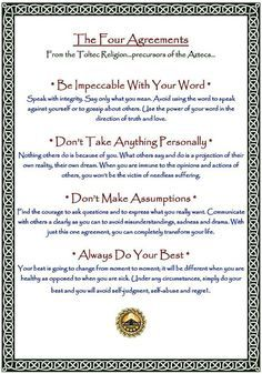 The Four Agreements in Summary. Don Miguel Ruiz wrote the book - well worth the read for those seeking change from within. The Four Agreements, Do Your Best, Your Word, Summary, This Or That Questions, Writing, Sayings, Reading, Words