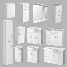 Bathroom Vanity Unit Tall Cabinet Laundry Storage Drawer Furniture Mirror Toilet · $159.99 Toilet Vanity Unit, Freestanding Vanity Unit, Bathroom Vanity Units, Laundry Storage, Storage Drawers, Locker Storage, Basin Sink, Bathroom Designs, Furniture Sets
