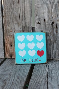 Valentines Day BE MINE with HEARTS Sign Gift Home Seasonal Personalized Block Decor