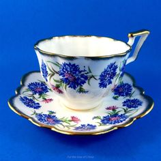 """Bright Blue Cornflowers """"Harvest Time"""" Salisbury Tea Cup and Saucer Set Tea Cup Set, My Cup Of Tea, Cup And Saucer Set, Tea Cup Saucer, Tea Sets, Vintage Cups, Vintage Tea, Salisbury, Tea Service"""