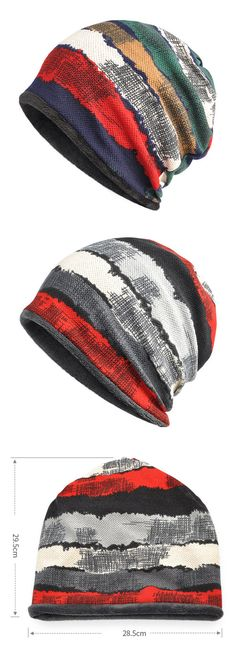 2ff702c7194a4 Print Stripe Muti-Color Beanie Hats Casual Scarf  outdoor  outfit  fashion