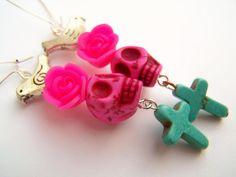 Day of the Dead Earrings in Neon Pink & Turquoise with Skulls and Crosses by polishedtwo, $14.00