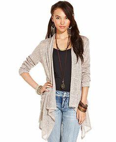 America Rag Juniors Sweater, Long Sleeve Marled-Knit Draped Cardigan - Juniors Sweaters - Macy's