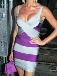 Cut Out Wide Stripepd Slim Back Zipper Bodycon Dress Sheath Dress For Summer Wear