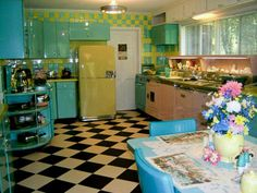If you were desperate for new floors, but couldn't do the hard wood yet, and you DID go with the retro kitchen...