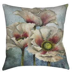 Beautiful watercolor poppies grace this double-sided printed throw pillow. Usable indoors or outdoors, this pillow is the perfect accent for the bed, sofa or poolside patio.