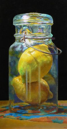 """Double Lemon"" - Jeffery Hayes, oil on linen {still life citrus fruit painting} jeffhayesfinearts.blogspot.com"