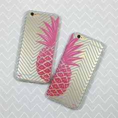 """Clear Plastic Case Cover for iPhone 6 (4.7"""") Best Friends Pineapple"""