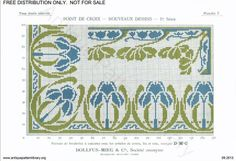 D.M.C. Point de Croix Nouveaux Dessins (1re Série) page 6. Art nouveau floral borders, blue and green.