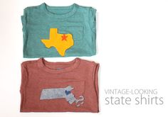 Vintage-Looking State Shirts -- i have an idea brewing it my head...