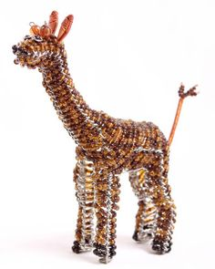 A Beautiful Giraffe Hand Crafted Wire Beaded Figurine Sculpture | eBay $13.99