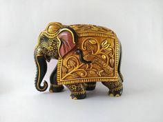 Wooden Elephant Gold Foil Work Used Carved Elephant Big | Etsy Elephant India, Biggest Elephant, Wooden Elephant, Wood Blocks, Gold Foil, Traditional Art, Wood Carving, Antique Gold, Hand Carved