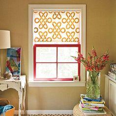 Inexpensive window treatment. I like the pattern.