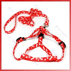 Bone Paws Print Small Dog Pet Leash Lead Harness Red $2