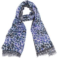 Bindya Blue Animal Print Cashmere And Silk Scarf (€150) via Polyvore featuring accessories, scarves, blue, cashmere shawl, lightweight scarves, blue shawl, blue silk scarves and bindya scarves