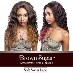 ISIS Human Hair Blend Lace Front Wig Brown Sugar Soft Swiss Lace BS203