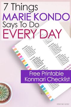 cleaning A daily to do list inspired by Marie Kondo's decluttering method. Includes a free printable Konmari checklist for your Happy Planner! Deep Cleaning Tips, House Cleaning Tips, Cleaning Hacks, Diy Hacks, Spring Cleaning Checklist, Daily Cleaning, Cleaning Day, Marie Kondo Methode, Konmari Methode