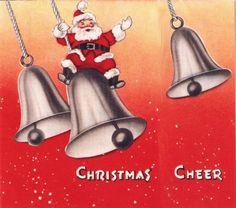 Vintage Christmas Card Santa Claus Christmas Bells