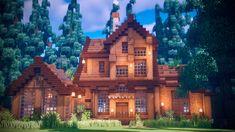 Minecraft Wooden House, Minecraft Villa, Minecraft House Plans, Minecraft Houses Survival, Easy Minecraft Houses, Minecraft House Tutorials, Minecraft City, Minecraft Room, Minecraft House Designs