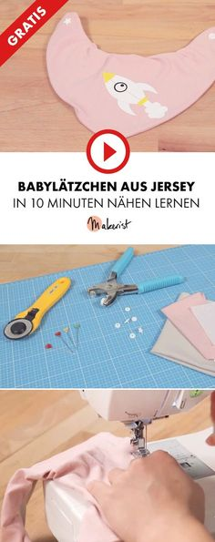 Gratis Video-Tutorial zum Nähen eines Babylätzchens für Anfänger - Makerist auf Youtube ##nähenmitmakerist #nähen #nähanleitung #schnittmuster #schnitt #pdfschnitt #pdfpattern #nähenmachtglücklich #nähenistwiezaubernkönnen #nähenisttoll #sewing #sew #sewingproject #sewingpattern #diy #diyproject #baby #bib #lätzchen #halstuch #scarf #kind #kleinkind #jersey #druckknopf #plotten #overlock