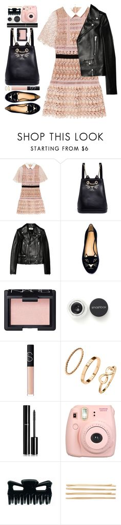 """#1178 Laurine"" by blueberrylexie ❤ liked on Polyvore featuring self-portrait, Charlotte Olympia, Yves Saint Laurent, NARS Cosmetics, Smashbox, H&M, Chanel, Fujifilm and Cara"