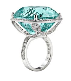 Faraone Mennella: Aquamarine ring with Diamonds set in 18Kt White gold
