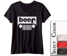 Beer Jeep Ladies VNeck  4x4 gear head tee college by spreadshirt, $14.95