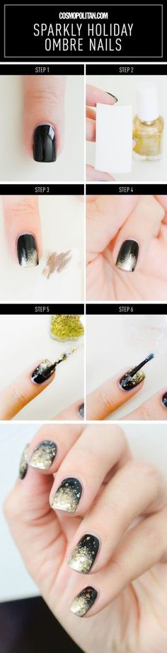SPARKLY HOLIDAY OMBRE NAIL ART: Usher 2016 in with style with this holiday black and gold ombre mani. This glam look is perfect for New Year's Eve parties and any holiday celebration. This mani is so easy — start with nails painted with black polish and then use a makeup sponge to lightly apply gold polish to create an ombre look. Then add a layer of glitter over the gold polish with a thicker layer towards the end of nail. Click through for the easy tutorial (with the complete direction)…
