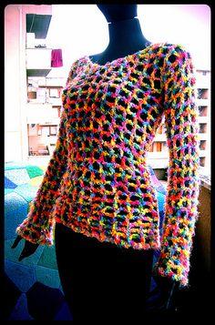 Rainbow Crochet Sweater