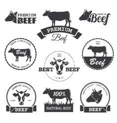 Beef labels vector by maglyvi on VectorStock®