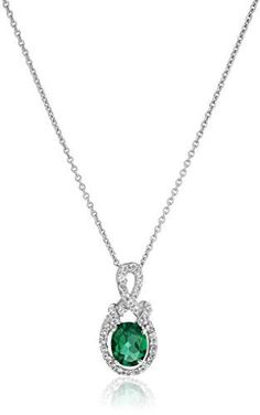 """Sterling Silver Created Emerald Oval with Created White Sapphire Pendant Necklace, 18"""" *** Read more reviews of the product by visiting the link on the image."""
