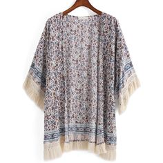 With Tassel Flower Print Kimono (270 ZAR) ❤ liked on Polyvore featuring intimates, robes, multicolor, patterned robes, kimono robe, floral print robe, floral print kimono and print kimono