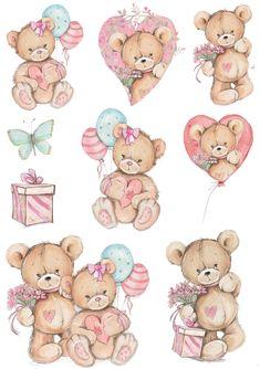 Baby Clip Art, Baby Art, Urso Bear, Baby Boy Favors, Teddy Beer, Girl Gift Baskets, Teddy Bear Party, Bear Card, Baby Drawing