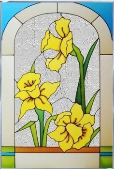 Amazon.com: Daffodils Vertical Art Glass Panel 20 x 14: Everything Else
