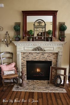 This Tile Around The Mantle Inset And On Hearth Works Well Here Fireplace Wall