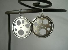 moon earrings, modern, round sterling silver earrings, moon crater holes,ready to ship