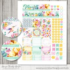 May Monthly Kit, May HAPPY PLANNER Stickers, Printable May Stickers, Mambi Stickers May, Floral Spring Planner, Mambi PDF, HPMV124