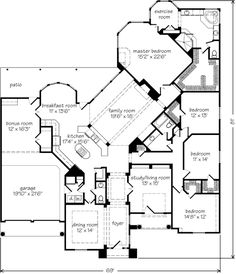 Possible good one story house plan for when the hubby and I have our 2-3 acres of land...