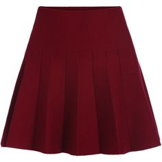 Romwe Elastic Waist Flare Maroon Skirt found on Polyvore featuring skirts, bottoms, red, short red skirt, flared a line skirt, red knee length skirt, a line skirt and red flare skirt