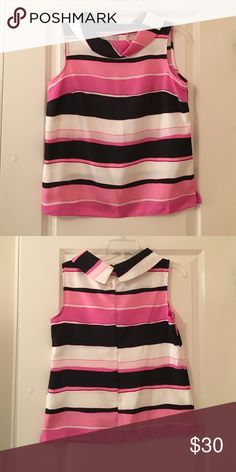 Talbots Top Talbots top, like new, Black, Hot Pink, light pink and white make this sleeveless top a must have for your closet. Talbots Tops