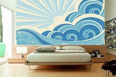 I want this!!! Retro Surf Mural Wallpaper