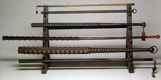 Here are some various examples of tetsubo (all-iron) and konsaibo (wood-and-iron)--Japanese war-clubs