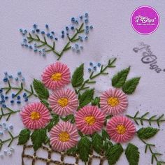 Hand Embroidery Design Patterns, Basic Embroidery Stitches, Hand Embroidery Videos, Embroidery Stitches Tutorial, Hand Embroidery Flowers, Flower Embroidery Designs, Creative Embroidery, Simple Embroidery, Crewel Embroidery