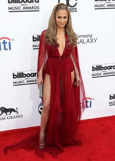 Jennifer Lopez in Red Sheer Gown by Donna Karan Fall 2014