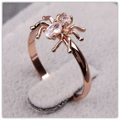 2016 Cute Animal Rings Joias Anel Senhor Dos Aneis 18k Rose Gold Filled Clear Zircon Spider Gold Engagement Rings For Women #Aneis, #Vintage